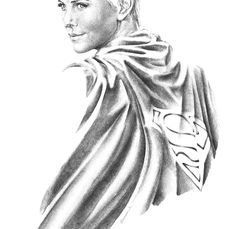 Charlize Theron as SUPERGIRL - Original XLarge Drawing -  Sanjulian JR - Arte com Lápis - 100x70cm