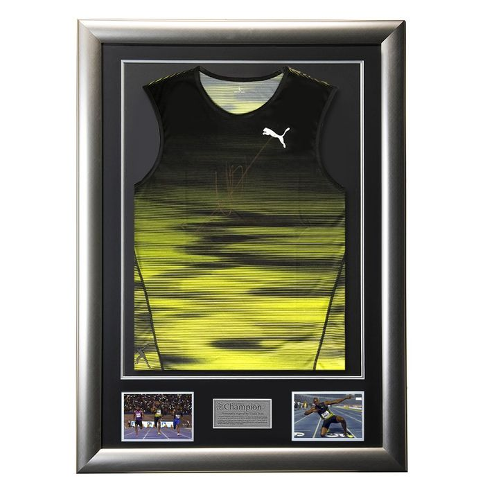 Signed & Framed - Usain Bolt - 2017 - Seltenes Puma Singlet Personal Issue