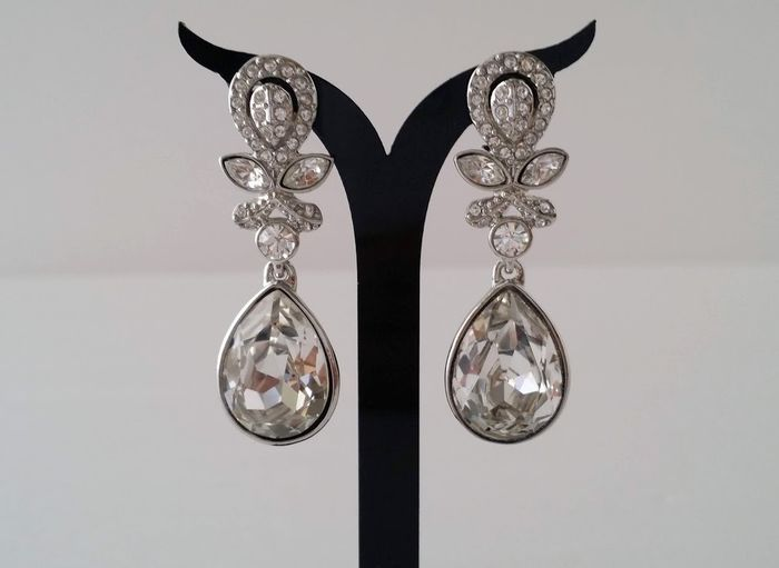 Givenchy Crystal Clip On Dangle Earrings