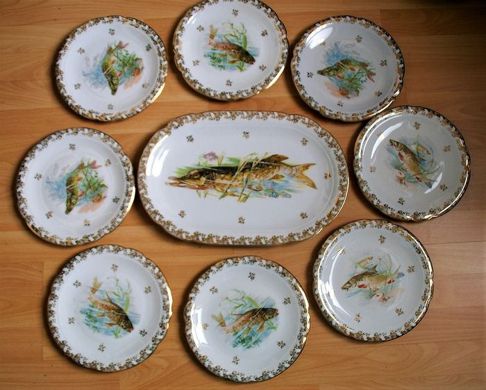 Limoges - Stylish 9-piece decorated French fish service