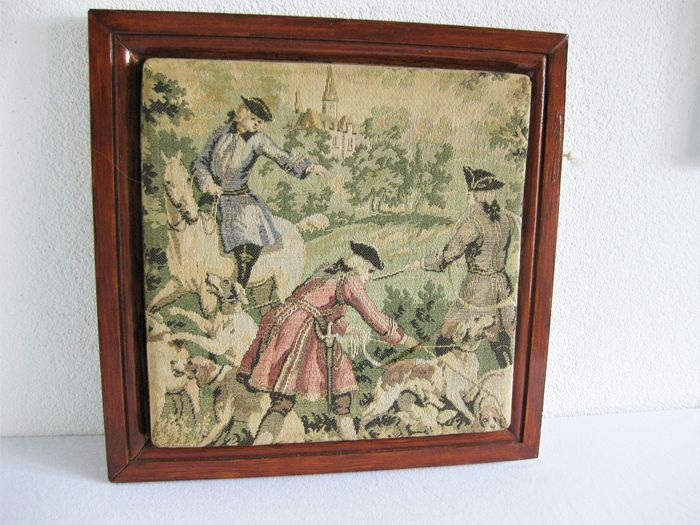 Beautiful Gobelin tapestry - framed - with the theme of a hunting scene (1) - Baroque - Cotton - wood - leather