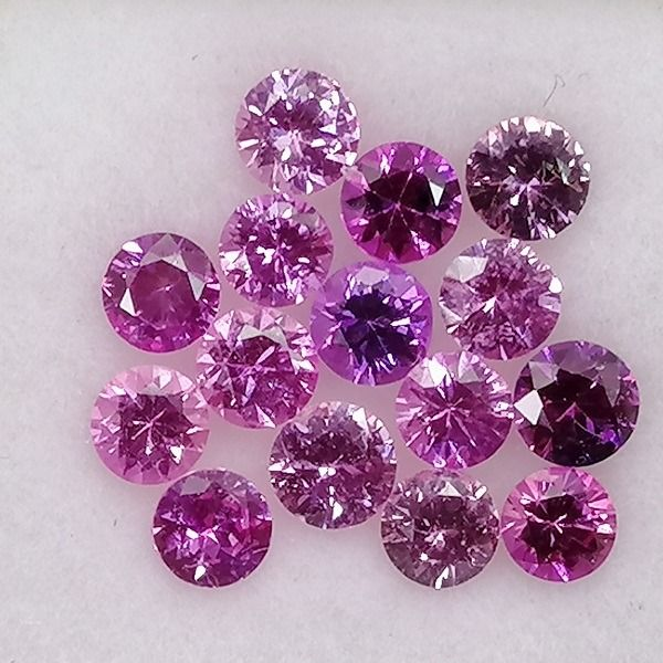 15 pcs  Saphir rose - 2.86 ct