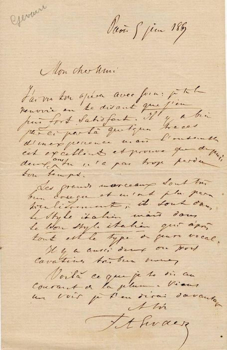 "François-Auguste Gevaert Composer - Autograph; Letter with Comments on a Opera and ""Good Italian Style"", from Paris - 1867"