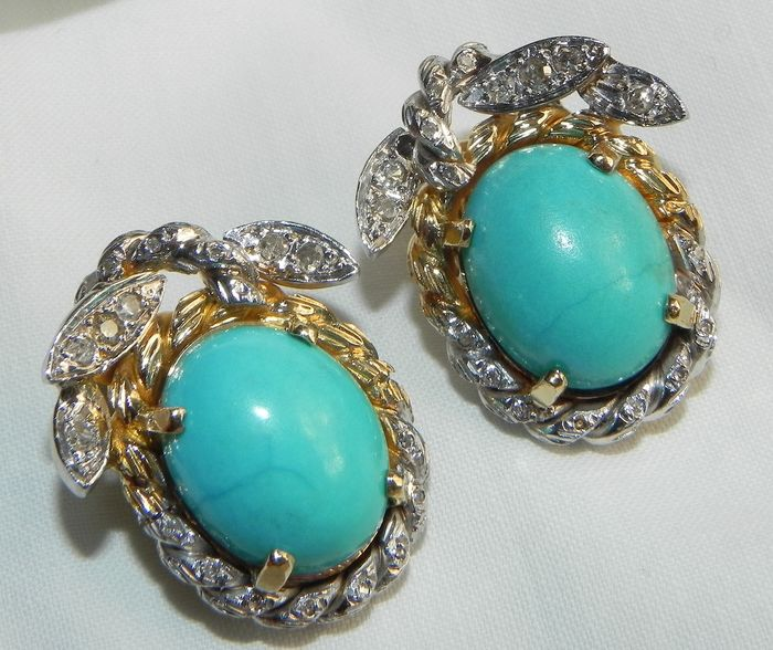 18 kt. Gold - 750 XL Ear Clips Natural Turquoise 1 Ct Brilliant Turquoise