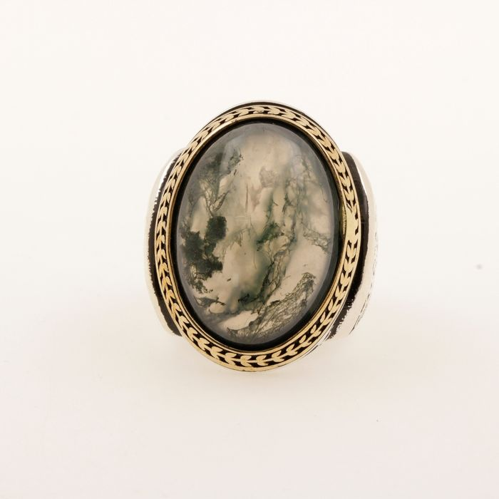 925 Silver - Ring Moss agate natural stone