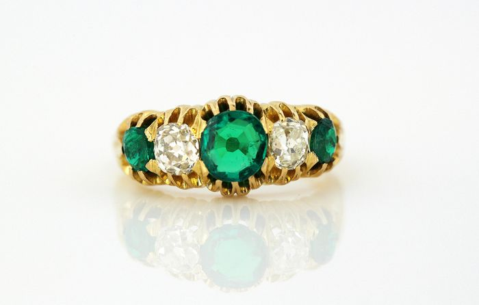 Victorian - 15K包金 黄金 - 戒指 - Diamonds, Emeralds