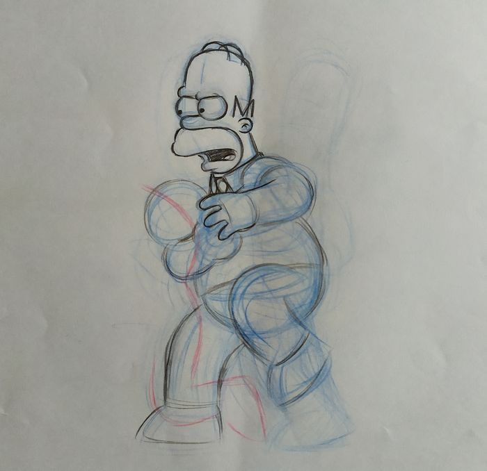 The Simpsons - Homer - Original animation drawing - Unique piece with COA