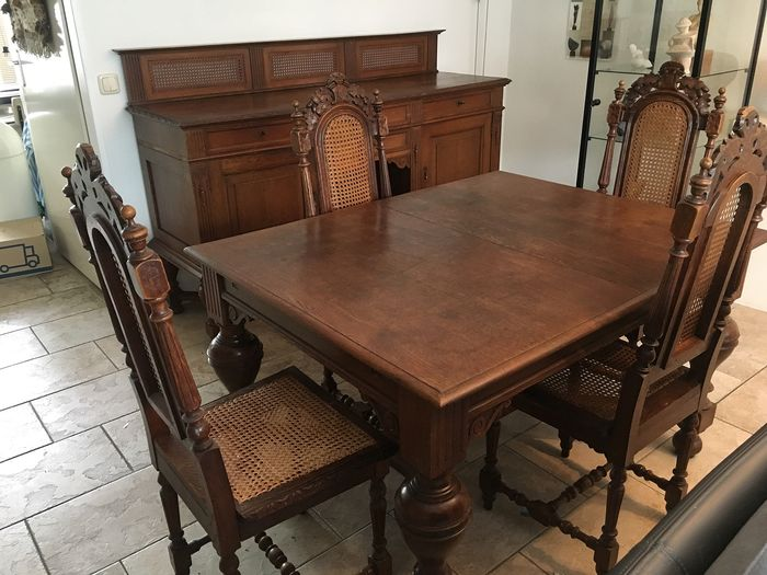 Dresser and dining table with 6 chairs