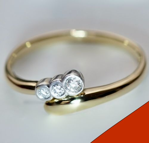 18 kt. Gold - Ring - 0.16 ct Diamond
