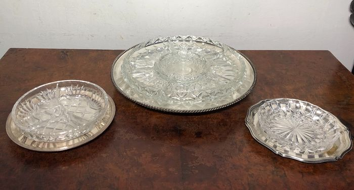 Tray, with Crystal Divided relish dish Insert. (3) - Crystal, Silverplate