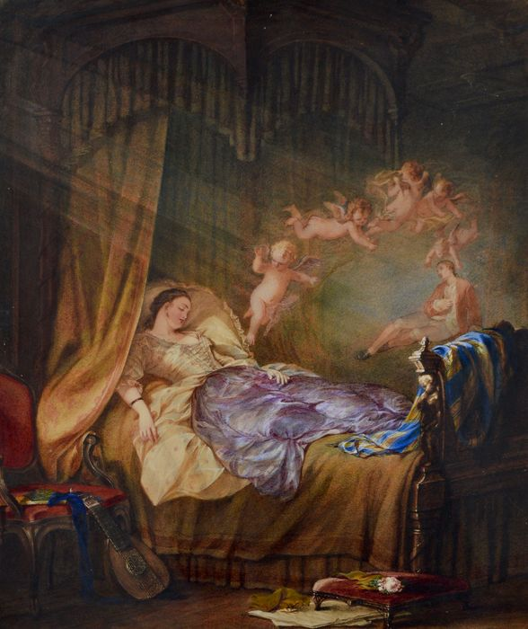 J Brantsy? (19th century) - A lady on a bed with angels above