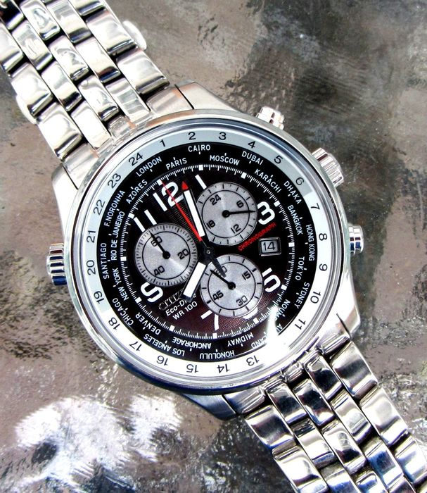 "Citizen - ""NO RESERVE PRICE"" Eco Drive World Time GMT Chronograph pilot & 3 straps - AT0361-06E cal. H500 - Men - 2011-present"