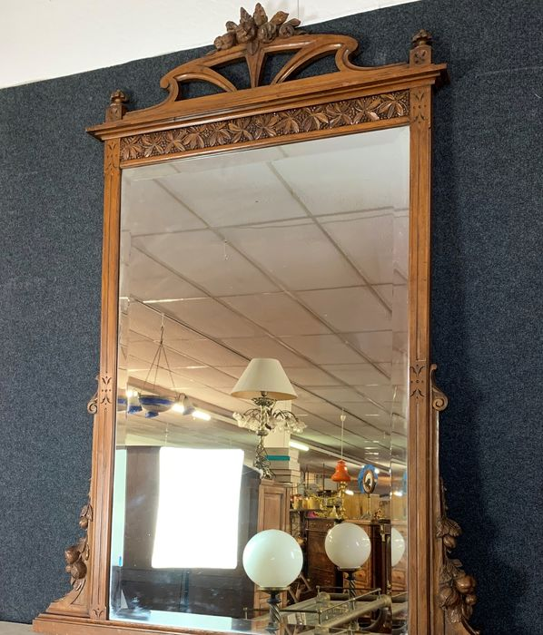 Beautiful Art Nouveau period mirror in natural wood