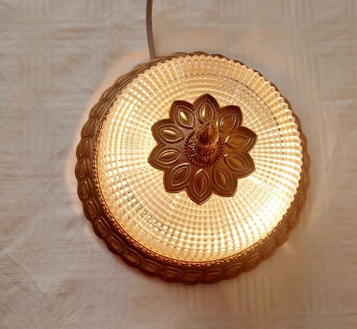 large ceiling lamp with brass rosette (1) - Brass, Glass