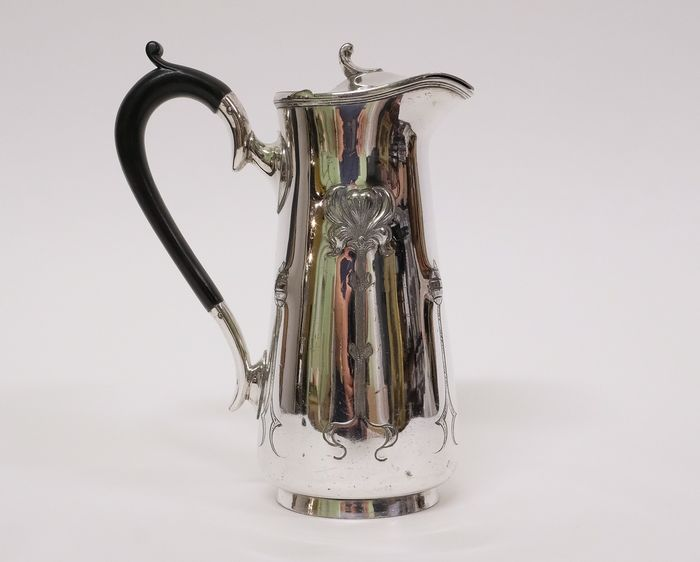 English art nouveau silver plated chocolate jug c1900