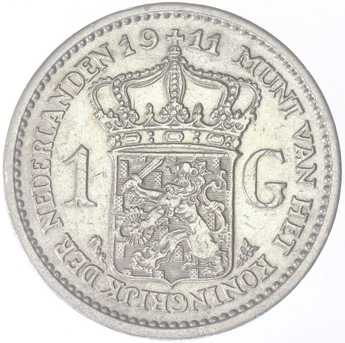 The Netherlands - 1 Gulden 1911 Wilhelmina - Silver
