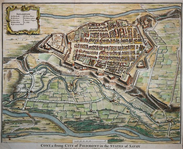 Italië, Piemonte, Cuneo; Knapton - Cony, a strong City of Piedmont in the States of Savoy - 1744