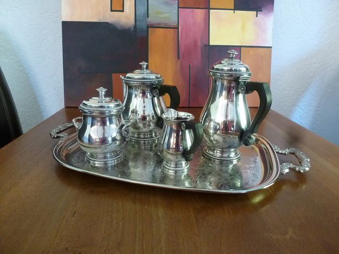 Five (5) pieces Coffee and tea service on beautifully decorated tray - Silverplate