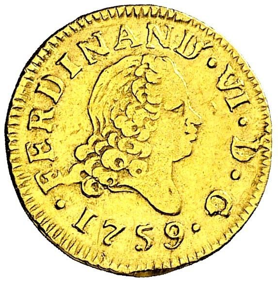 Spain - Fernando VI (1746-1759) - 1/2 Escudo 1759 Madrid JB - Rara - Gold