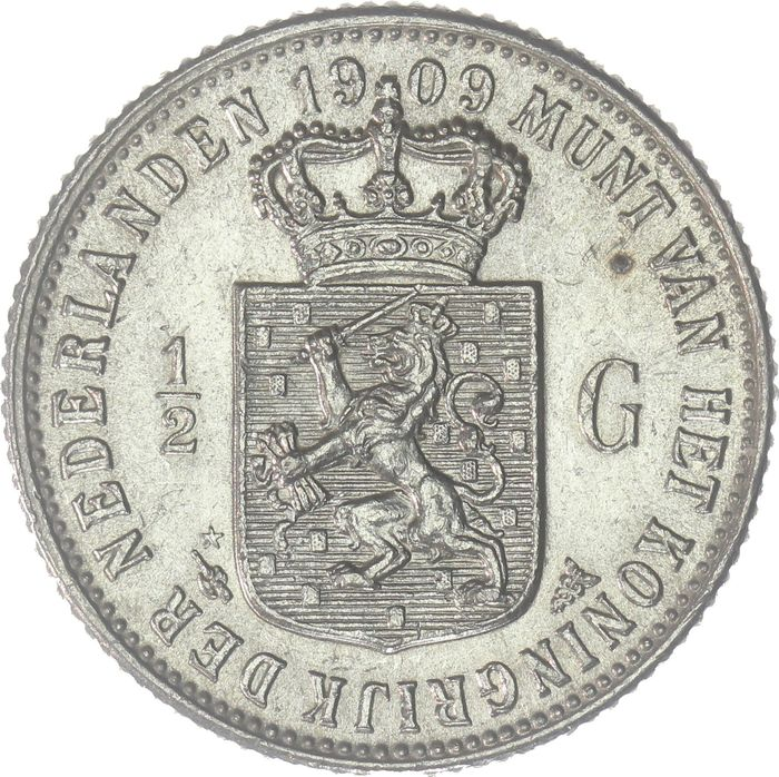 The Netherlands - ½ Gulden 1909 Wilhelmina - Silver