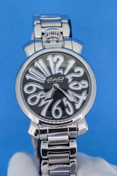 GaGà Milano - Manuale 40MM Steel Black Dial with White Hour Markers Swiss Made - 6020.1 - Women - Brand New
