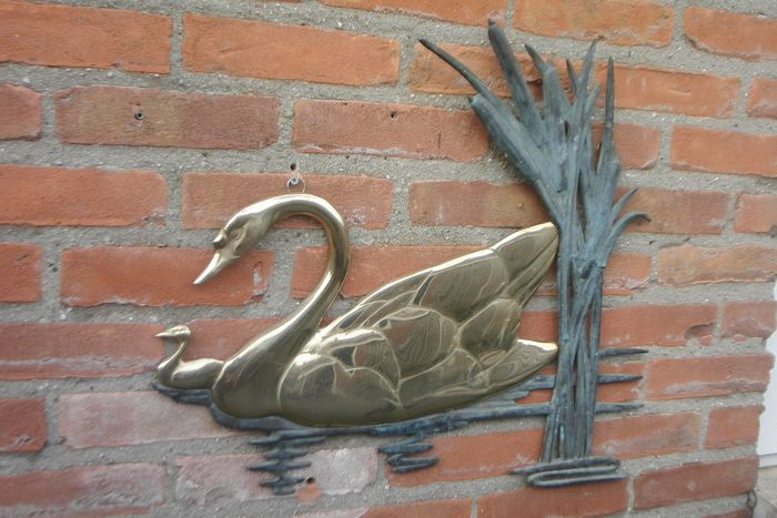 Wall Decoration - Swan with Young - Brass, Bronze