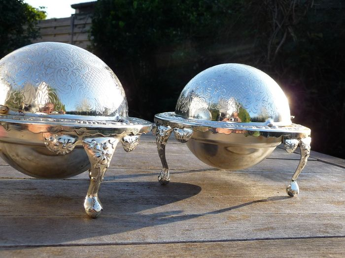 two beautiful silver-plated caviar bowl - Silverplate