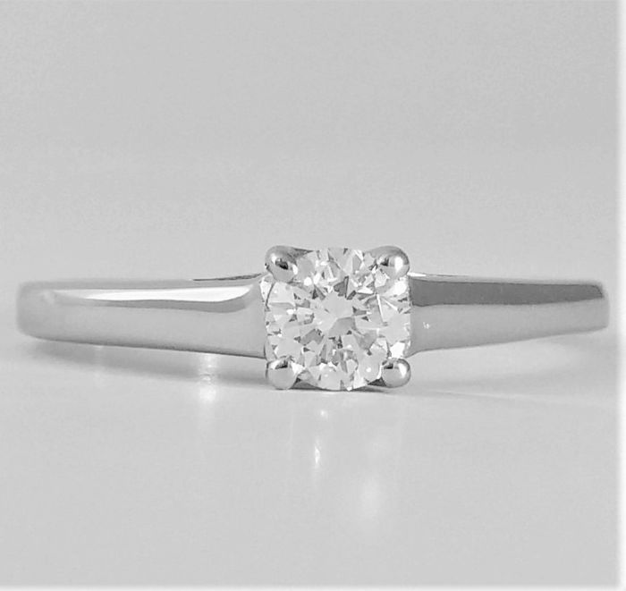 14 carats Or blanc - Bague - 0.30 ct Diamant - D / VS2 - GIA-