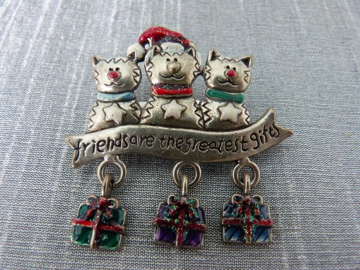 "AJMC copyright,vintage,""Friends are the greatest gifts"" pewter,enamel - Brooch"