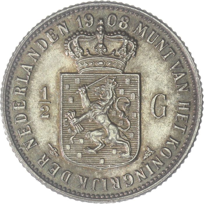 The Netherlands - ½ Gulden 1908 Wilhelmina - Silver