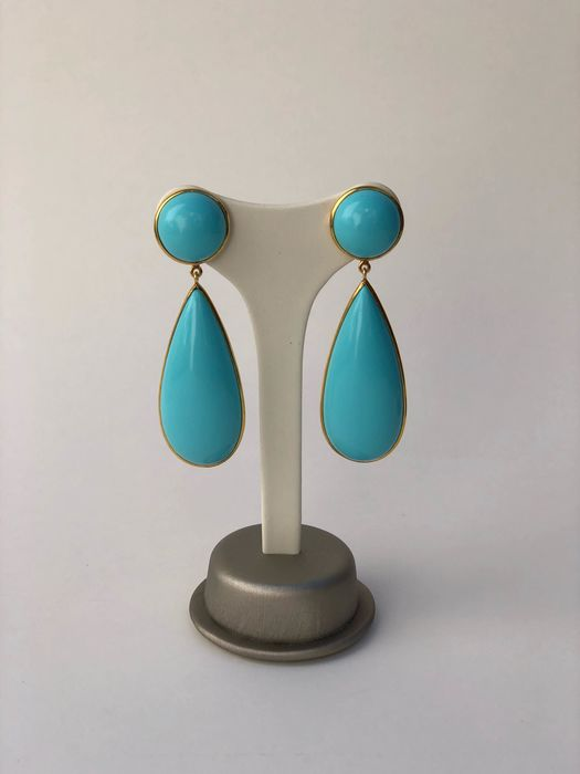 925 Silver, turquoise, large earrings - Earrings