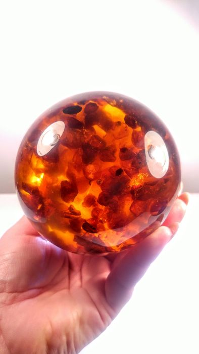 Amber (fossilized resin) Massive Sphere on metal stand - 9×9×9 cm - 512 g