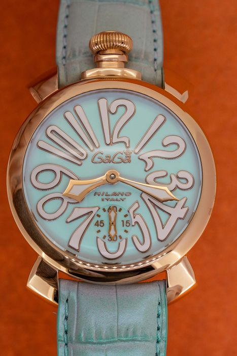 GaGà Milano - Manuale 48MM Rose Gold Light Blue with White Markers Swiss Made - 5011.03 - Unisex - Brand New