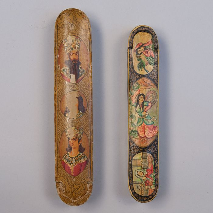 Pen boxes (2) - Papier-mache - Figures - Iran Qajar - 19th century