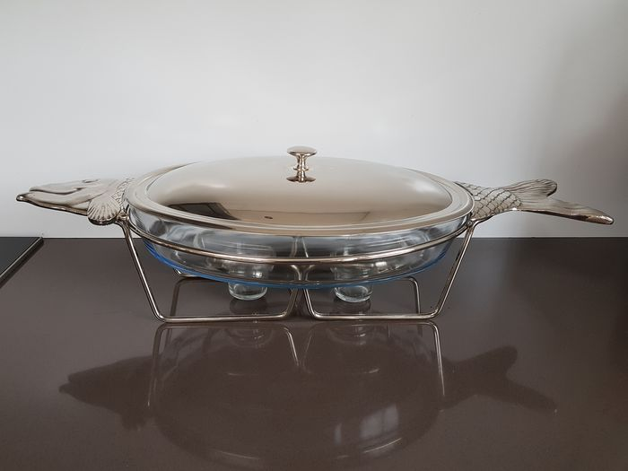Large Rechaud in fish form - Marinex refractory dish - Silvered - metal - glass