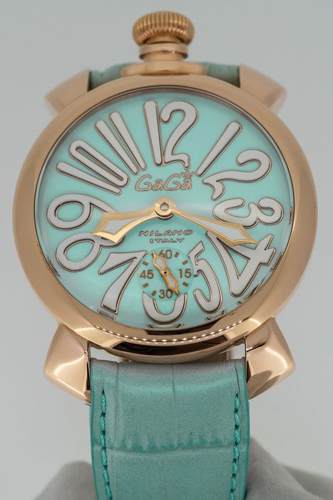 GaGà Milano - Manuale 48MM Rose Gold Light Blue with White Markers - 5011.03  - Unisex - Brand New