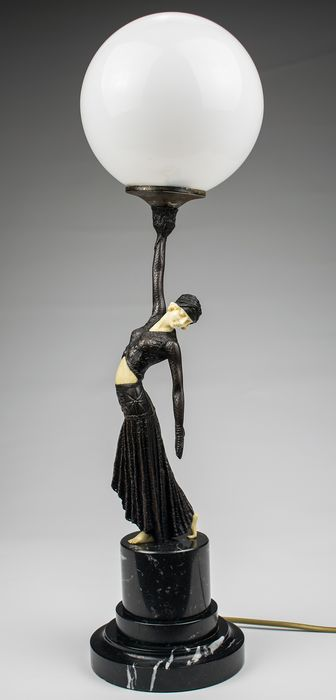 Table lamp, with ballerina - Bronze, Glass, Marble, Resin/Polyester
