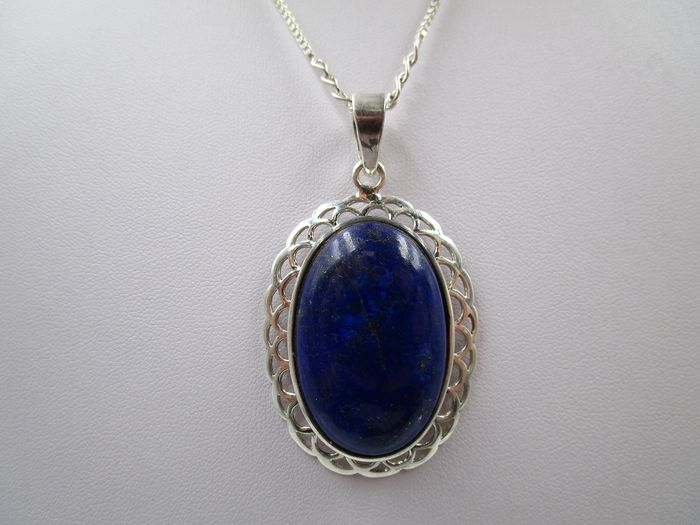 Figarokette mit großem Anhänger / Collier  - 925 Silver - Necklace with pendant - 47.39 ct Lapis lazuli