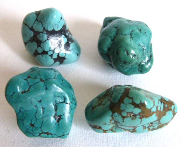 Turquoise Tibetan turquoise collection - 2.7 to 3.3 cm - 62.6 g - (4)