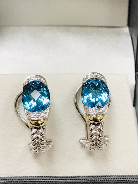925 Silver and 18k Gold - Earrings - 7.00 ct Topaz - Diamonds