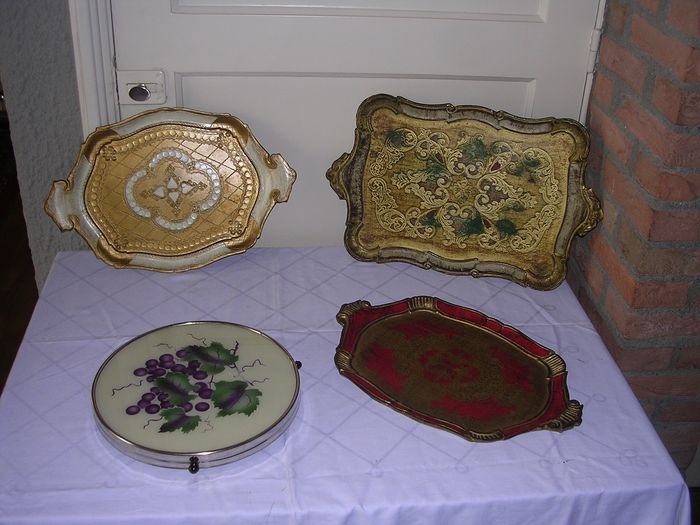 Serving tray (4) - Baroque - Wood - nickel and glass