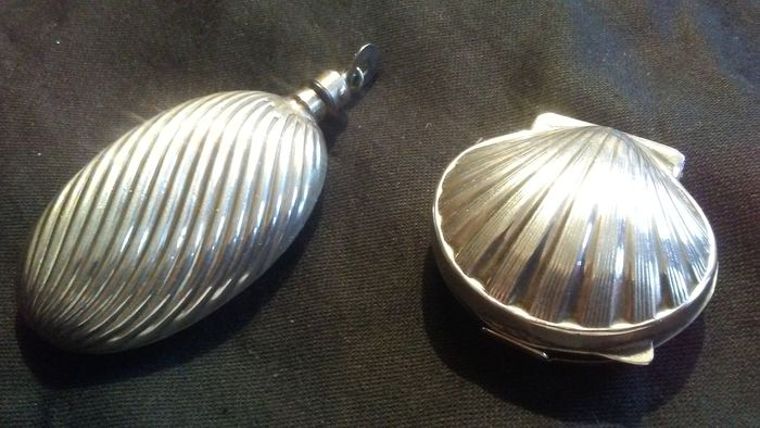 Perfume bottle, Pill box (2) - Art Deco - .800 silver
