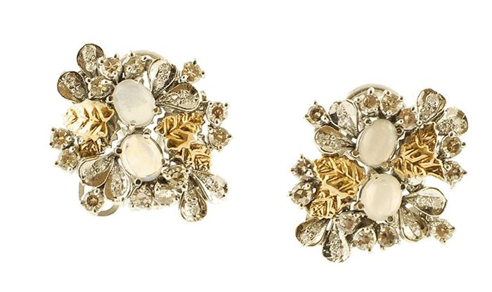 14 kt. White gold, Yellow gold - Earrings - Diamonds, Opal