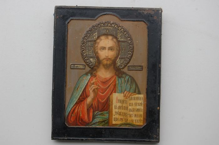 Russian  icon 	 Christ the Almighty  - wood,metal