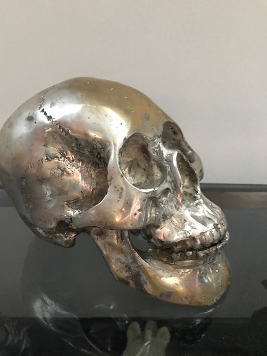 Rare sculpture of the human skull in natural size - silverplate