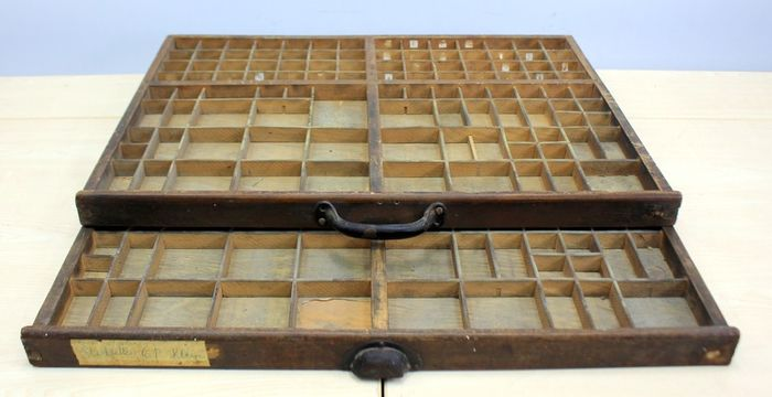 Two original printing letter trays - mahogany wood