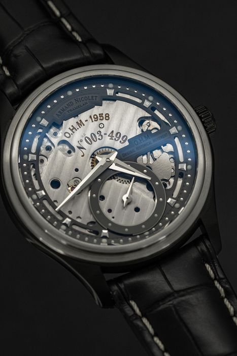 Armand Nicolet - L14 Small Seconds Skeleton Dial Limited Edition of 499 Watch O.H.M. DLC Swiss Made  - A750ANA-GR-P713NR2 - Homme - Brand New
