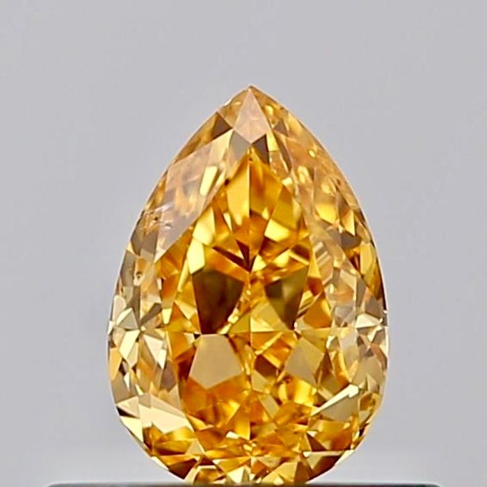 1 pcs Diamant - 0.38 ct - Birne - fancy vivid yellow orange - SI1