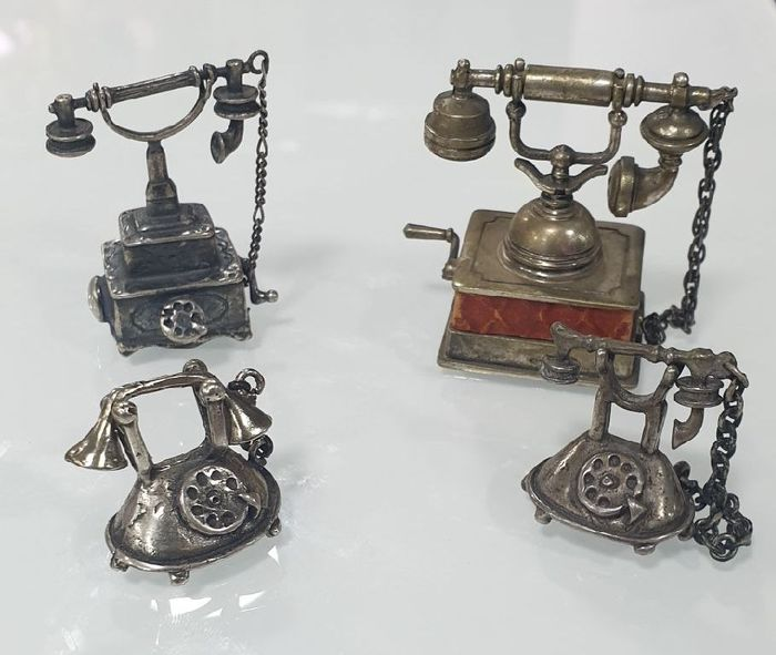phones (4) - Art Deco - .800 silver
