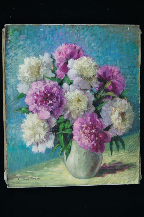 Nelly Cathala-Mongoin (1916 - ?) - Bouquet de pivoines